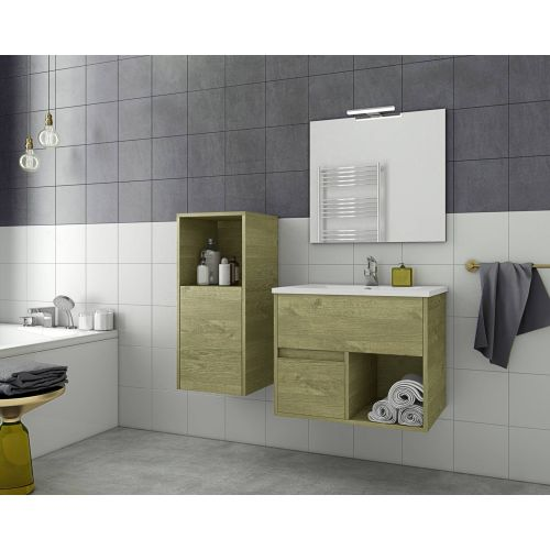 ΕΠΙΠΛΟ ΜΠΑΝΙΟΥ Set Drop SORENTO 65 Natural Wood Finish 65cm