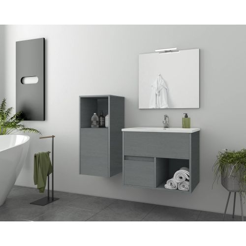 ΕΠΙΠΛΟ ΜΠΑΝΙΟΥ Set Drop SORENTO 65 Graphite Wood Finish 65cm