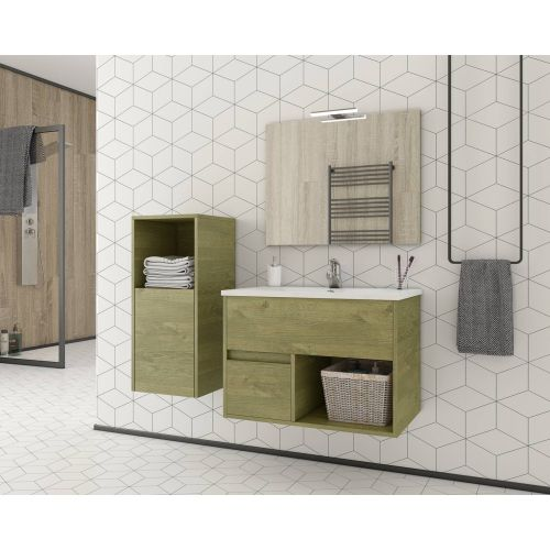 ΕΠΙΠΛΟ ΜΠΑΝΙΟΥ Set Drop SORENTO 75 Natural Wood Finish 75cm