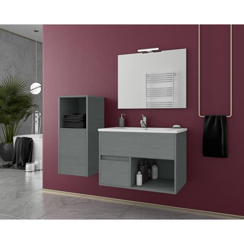 ΕΠΙΠΛΟ ΜΠΑΝΙΟΥ Set Drop SORENTO 75 Graphite Wood Finish 75cm