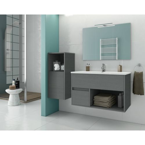 ΕΠΙΠΛΟ ΜΠΑΝΙΟΥ Set Drop SORENTO 85 Graphite Wood Finish 85cm